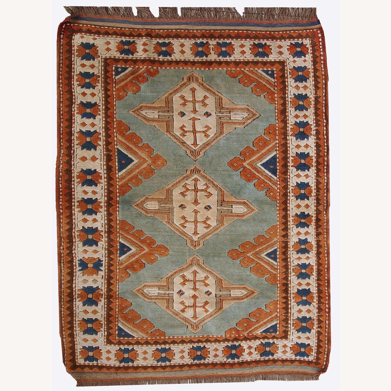 Handmade Vintage Caucasian Kazak Rug - image-1