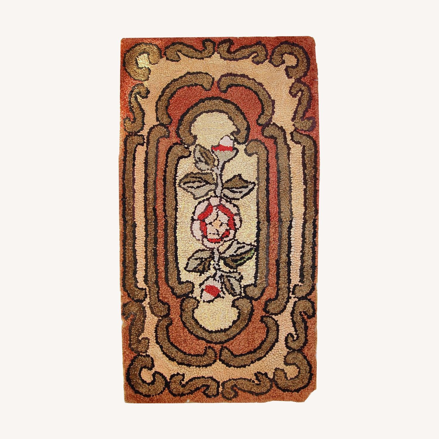 Handmade Antique American Hooked Rug - image-0