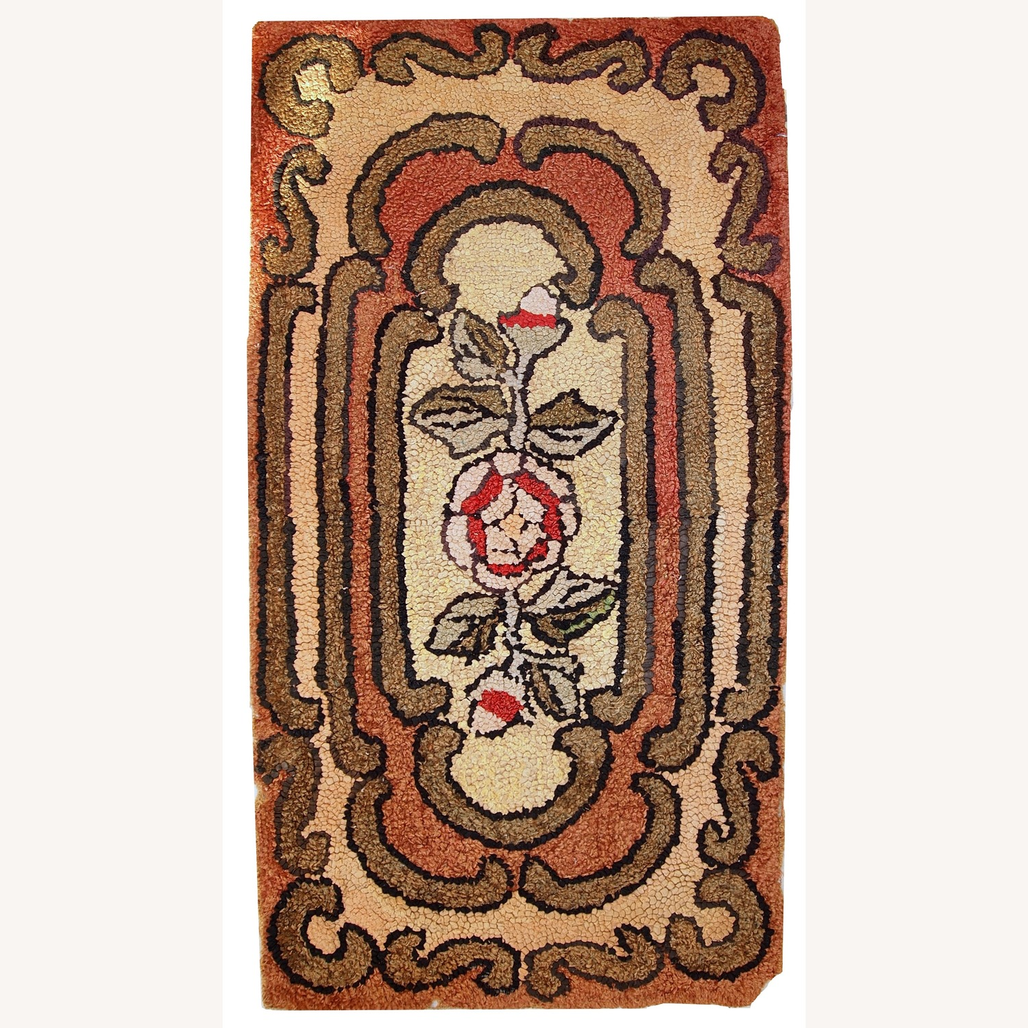 Handmade Antique American Hooked Rug - image-1
