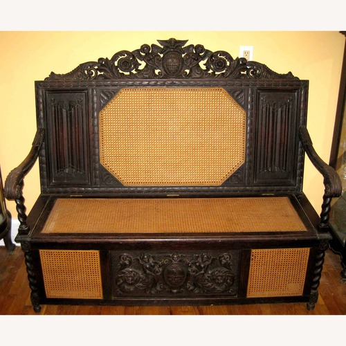 Used Ornately Carved Antique Italian Bench Chest for sale on AptDeco