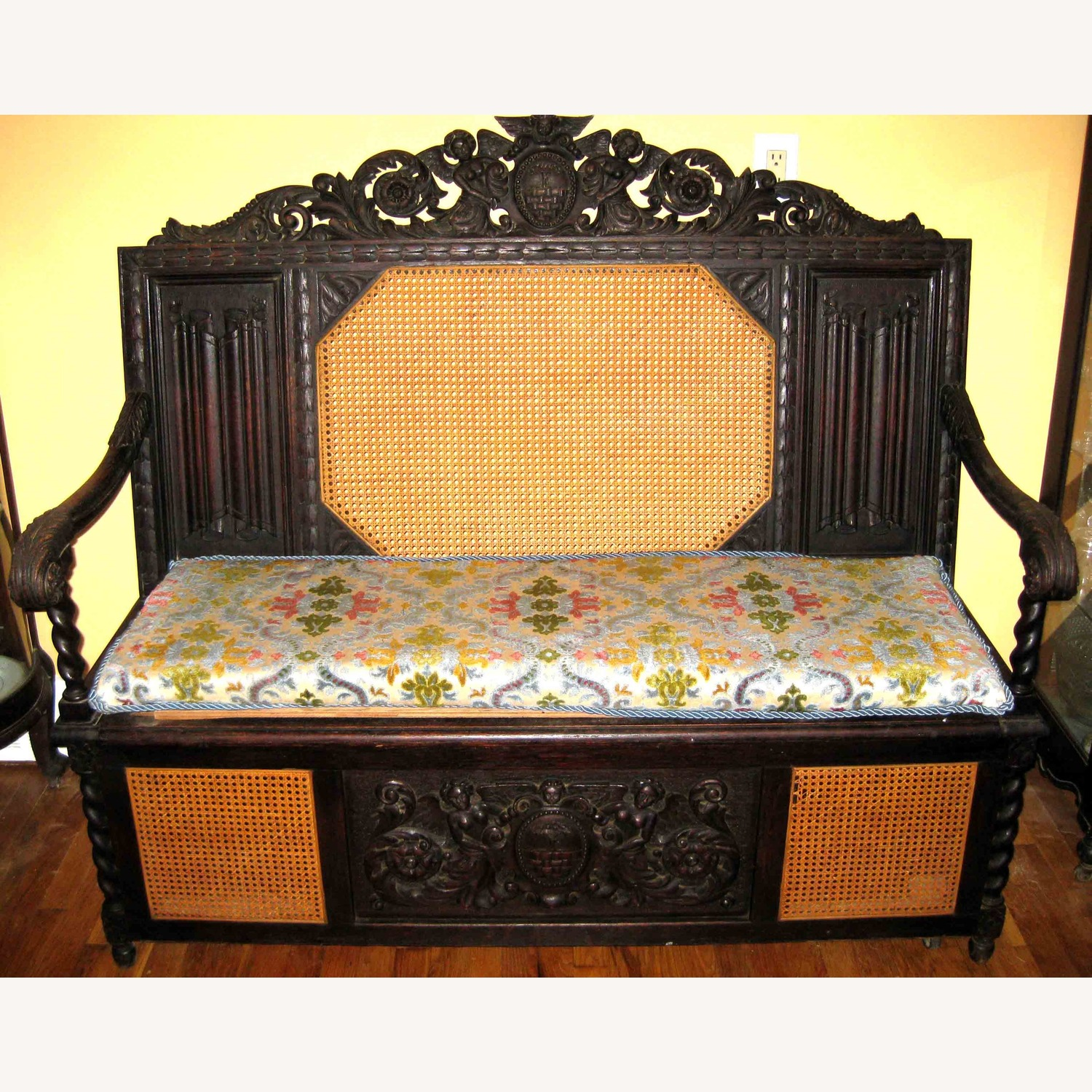 Ornately Carved Antique Italian Bench Chest - image-2