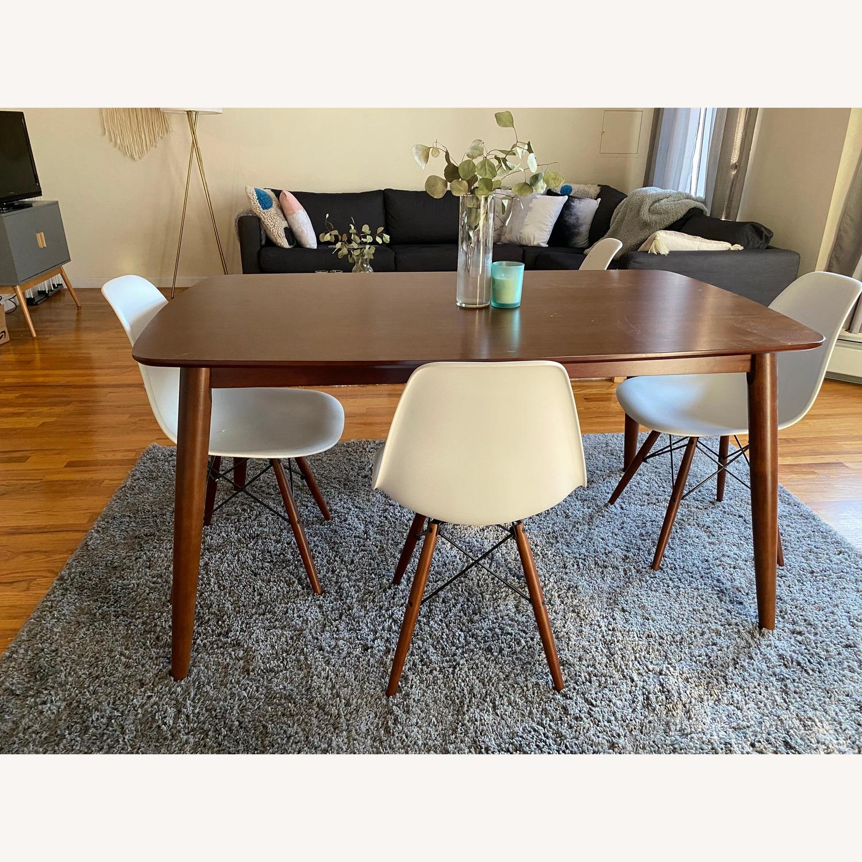 Wayfair Mid Century Dining Table With White Chairs Aptdeco