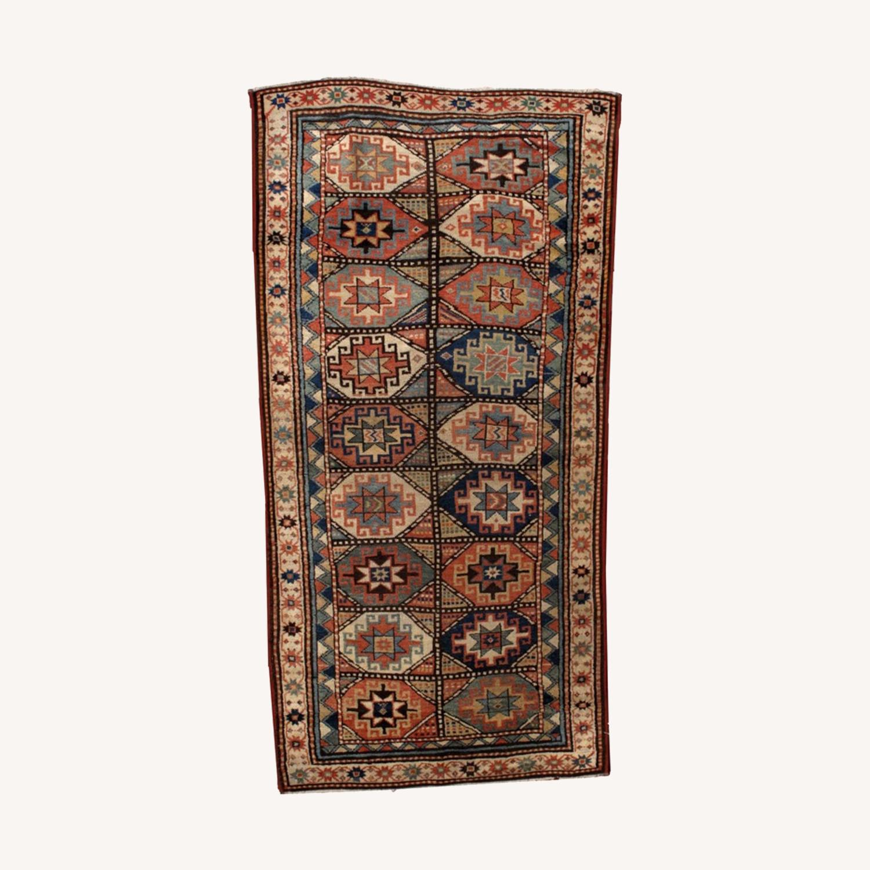 Handmade Antique Caucasian Kazak Mohan Rug - image-0