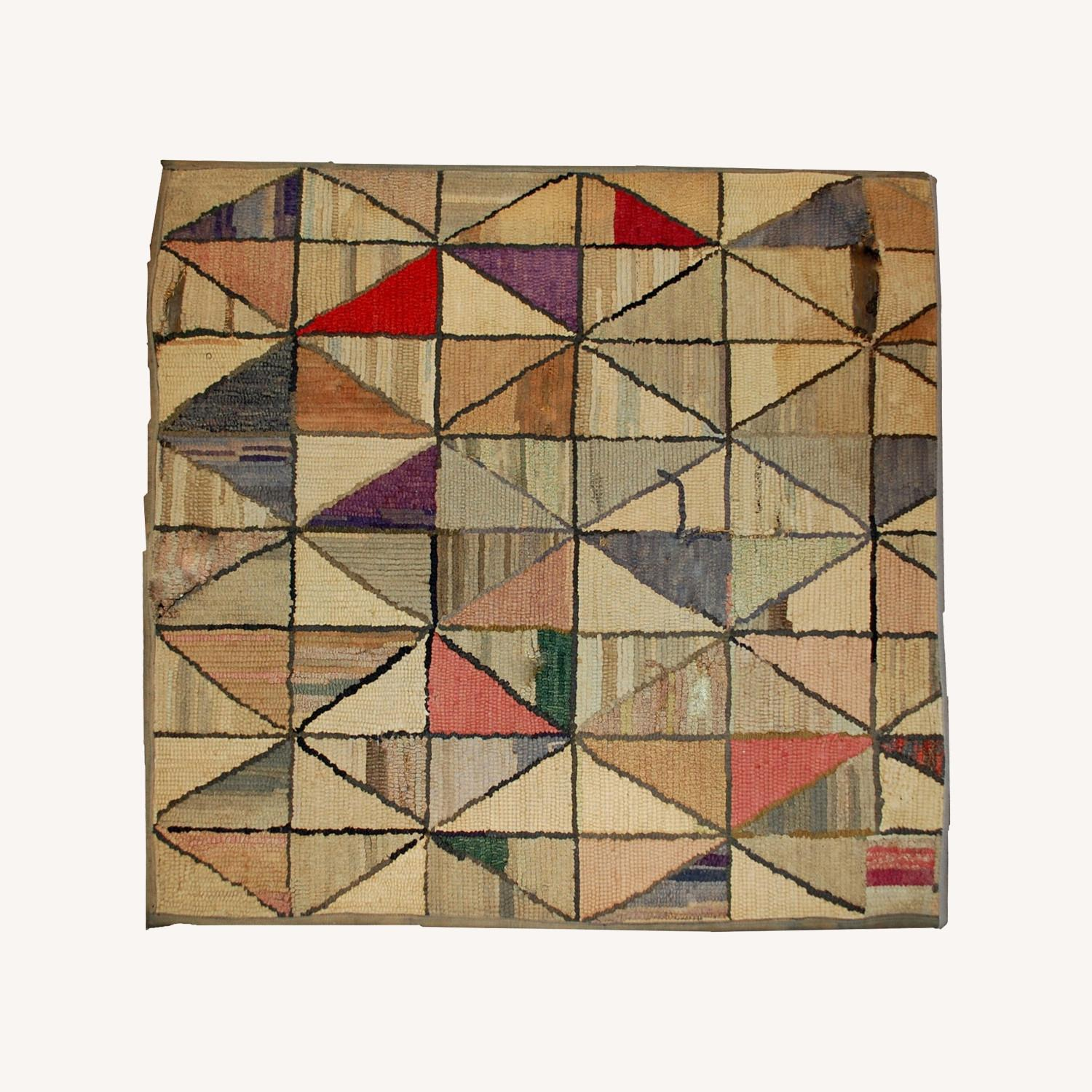 Handmade Antique Square American Hooked Rug - image-0