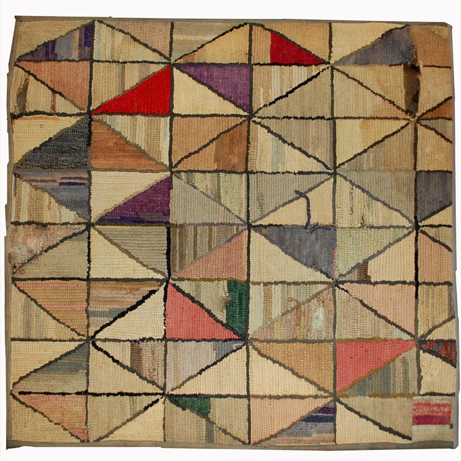 Handmade Antique square American Hooked Rug - image-1