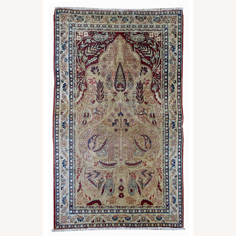 Handmade Antique Prayer Persian Kerman Lavar Rug - image-0