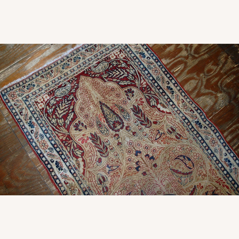 Handmade Antique Prayer Persian Kerman Lavar Rug - image-4