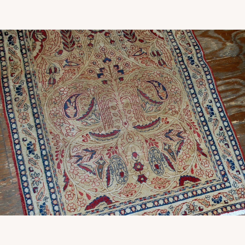 Handmade Antique Prayer Persian Kerman Lavar Rug - image-1