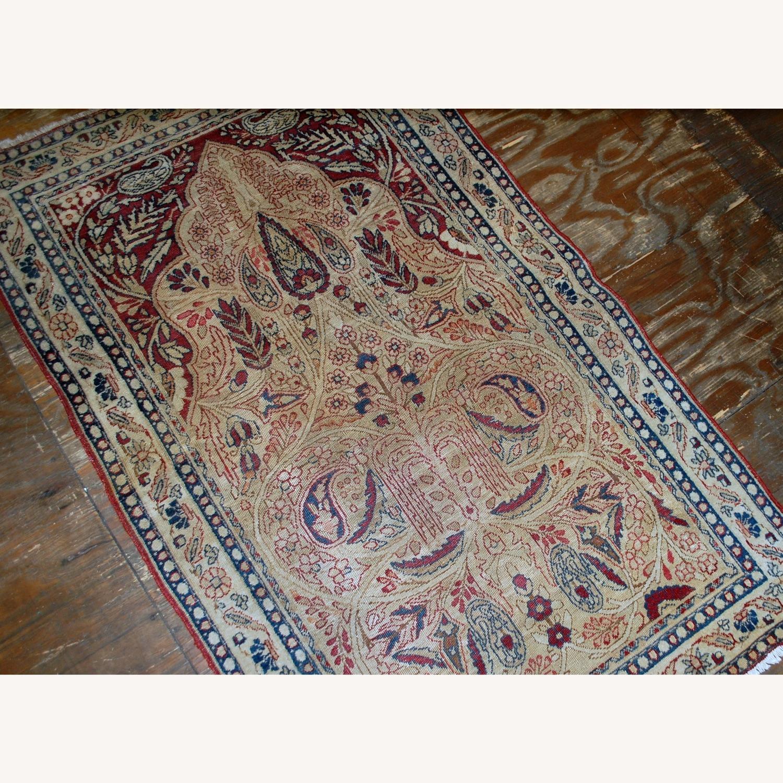 Handmade Antique Prayer Persian Kerman Lavar Rug - image-3