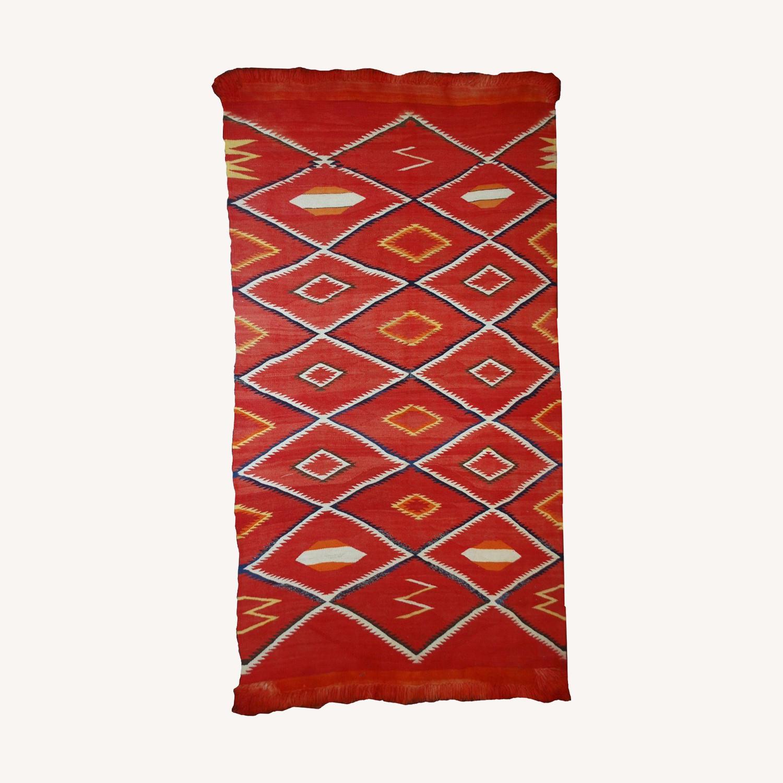 Handmade Antique Native American Navajo Blanket - image-0