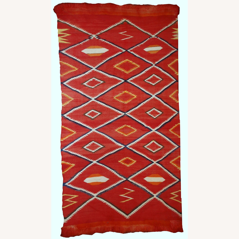 Handmade Antique Native American Navajo Blanket - image-1