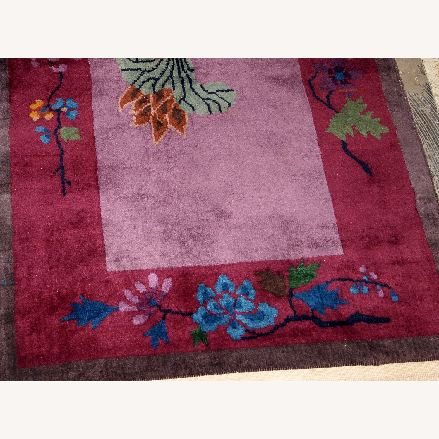 Handmade Antique Art Deco Chinese Rug - image-7