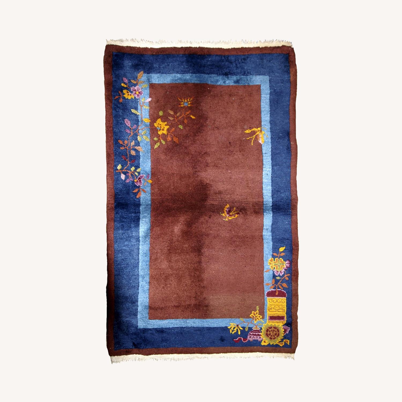 Handmade Vintage Persian Sumak Saddle Bag - image-0
