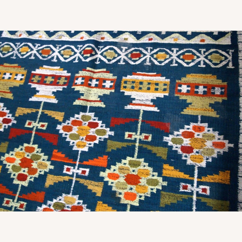 Handmade Vintage Scandinavian Flat-weave kilim - image-3