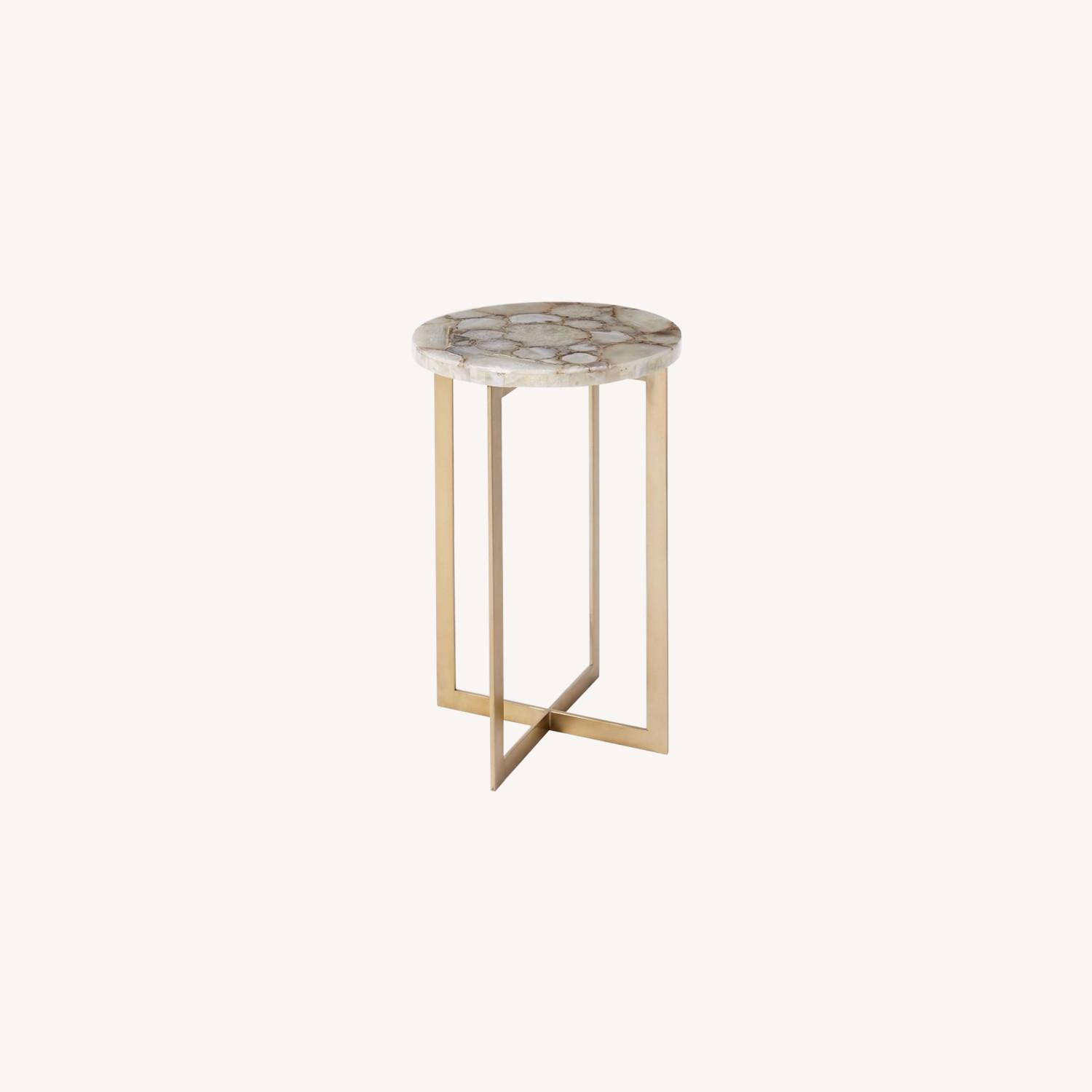 West Elm Agate & Brass Side Table - image-0