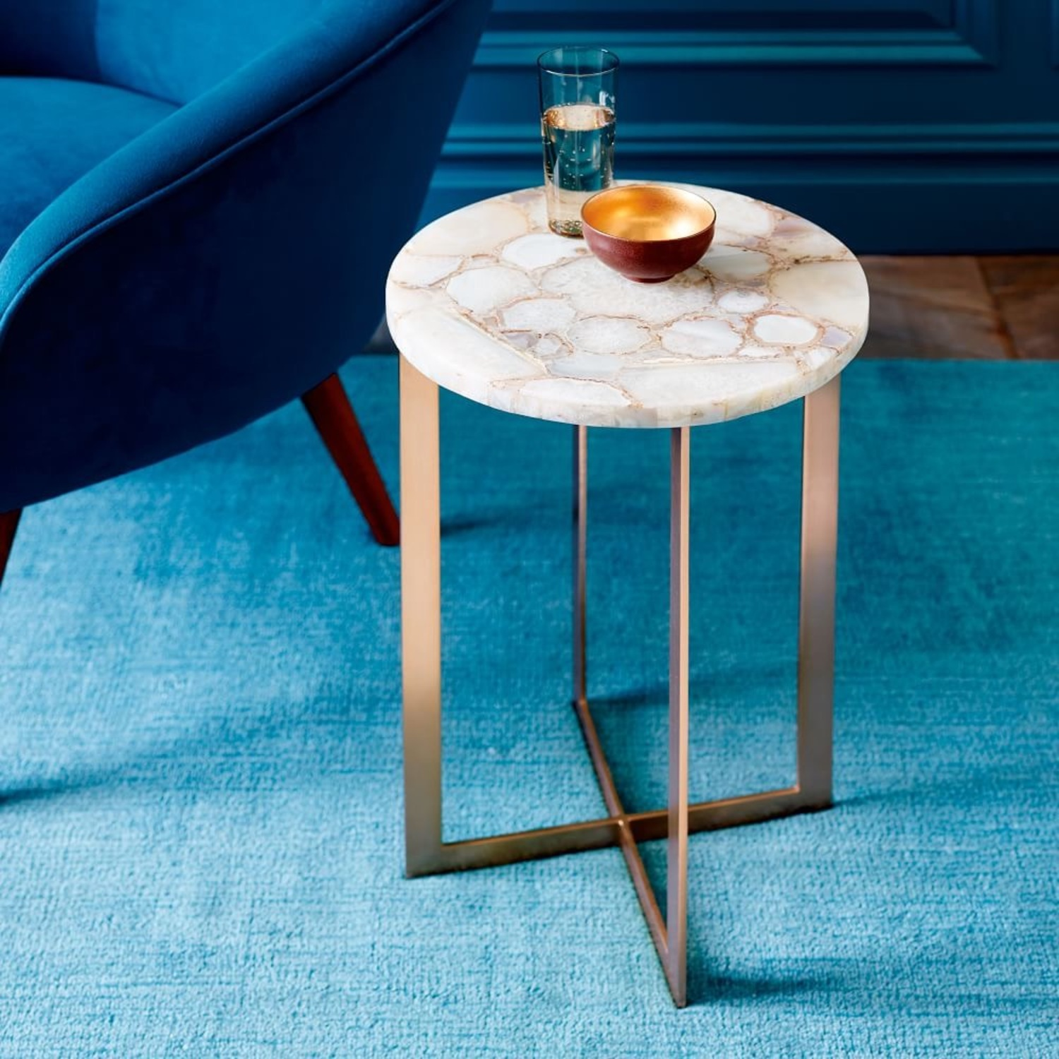 West Elm Agate & Brass Side Table - image-3
