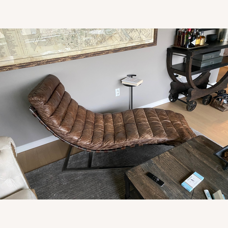 Restoration Hardware Oviendo Leather Chaise - image-3