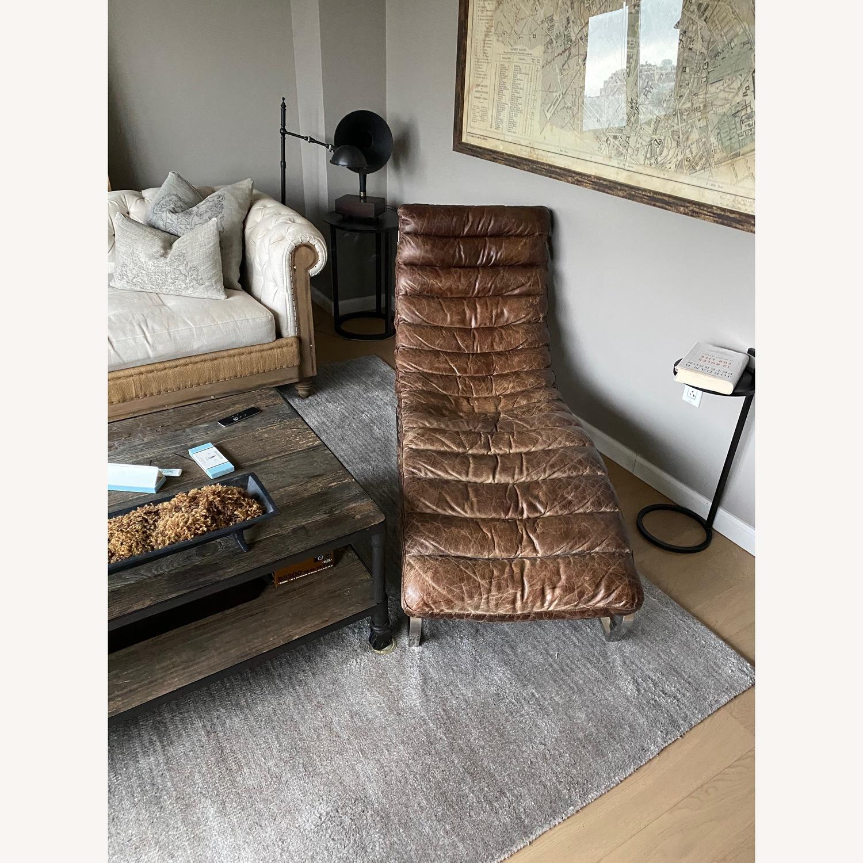 Restoration Hardware Oviendo Leather Chaise - image-2