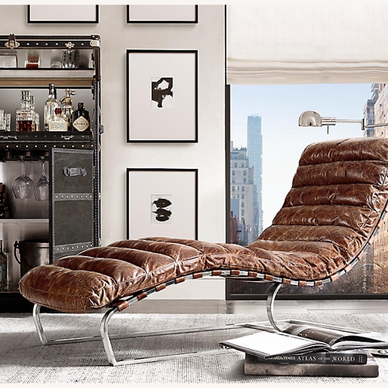 Restoration Hardware Oviendo Leather Chaise - image-0