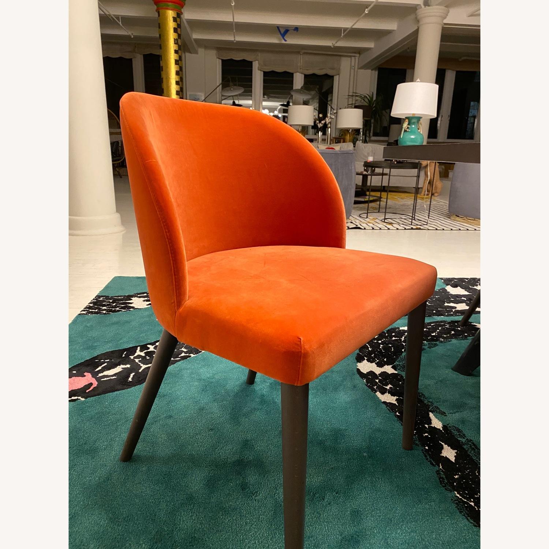 Crate & Barrel Orange Velvet Dining Chairs - image-1