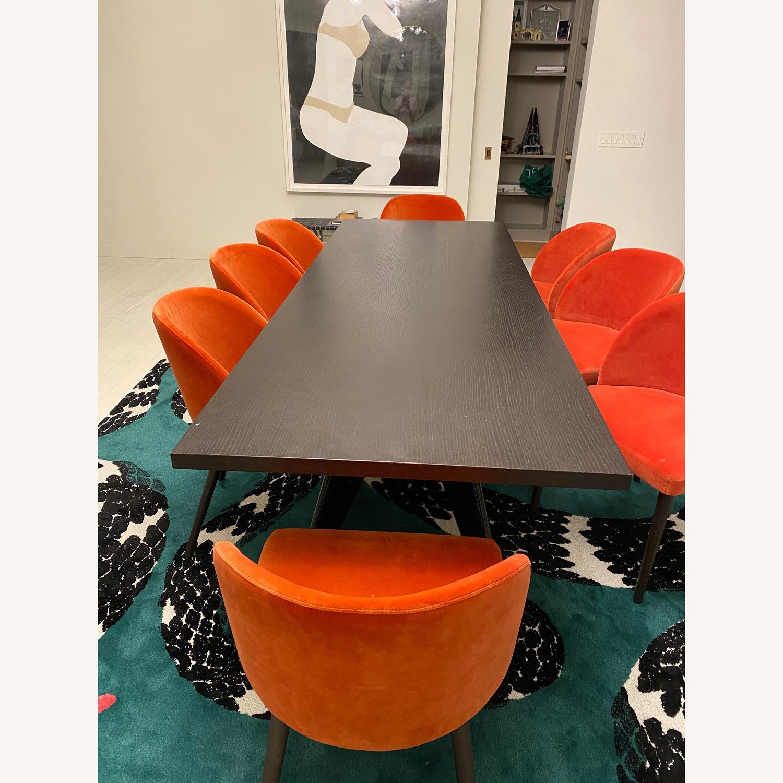 Crate & Barrel Orange Velvet Dining Chairs - image-0