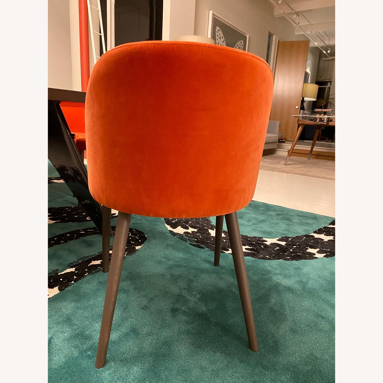Crate & Barrel Orange Velvet Dining Chairs - image-2
