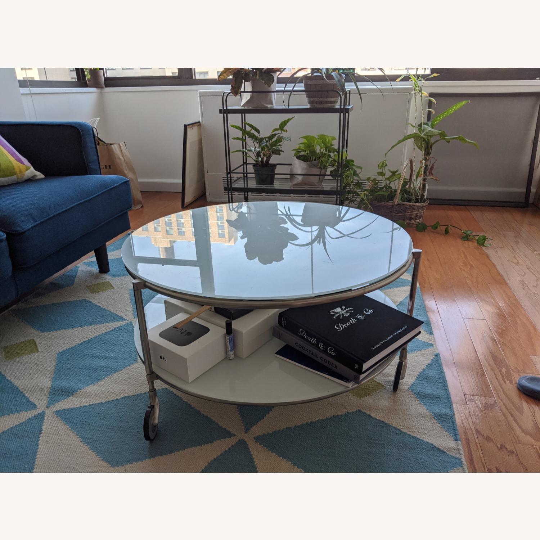 IKEA White Glass Coffee Table - image-1