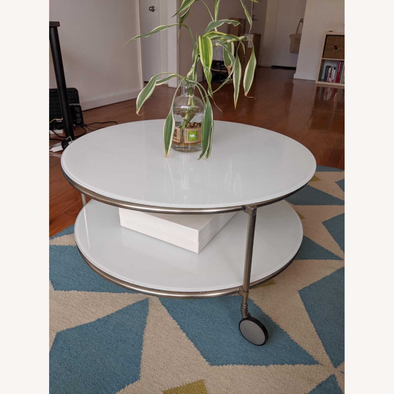IKEA White Glass Coffee Table - image-0