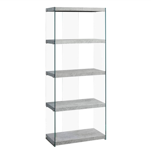 Used Monarch Furniture Cement and Tempered Glass Bookcase for sale on AptDeco