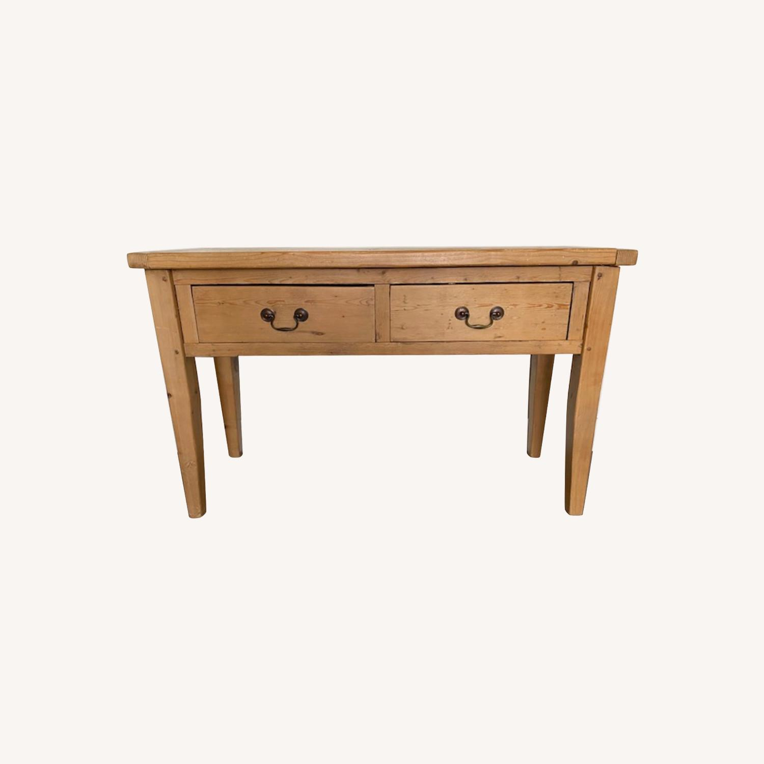Vintage Pine Console Table with Drawers - image-0