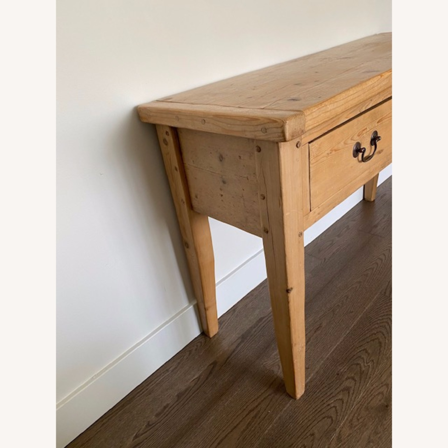 Vintage Pine Console Table with Drawers - image-3