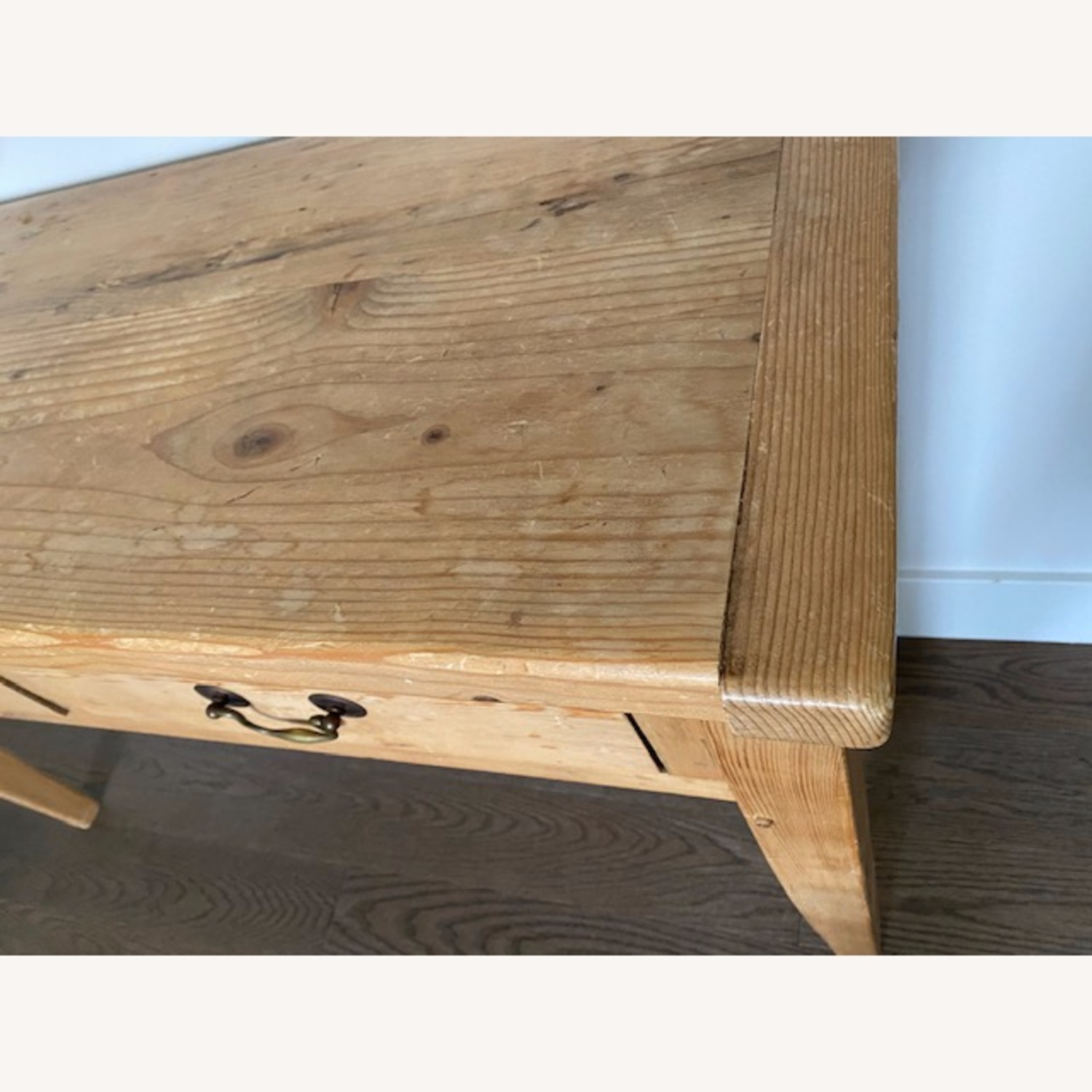 Vintage Pine Console Table with Drawers - image-5