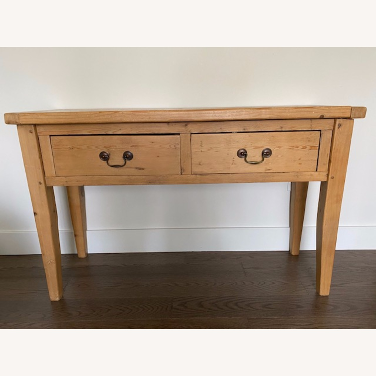 Vintage Pine Console Table with Drawers - image-1