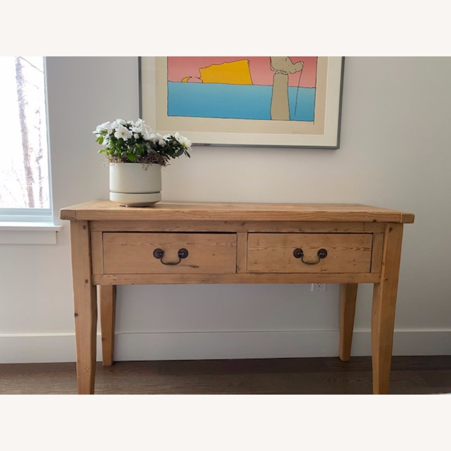 Vintage Pine Console Table with Drawers - image-7