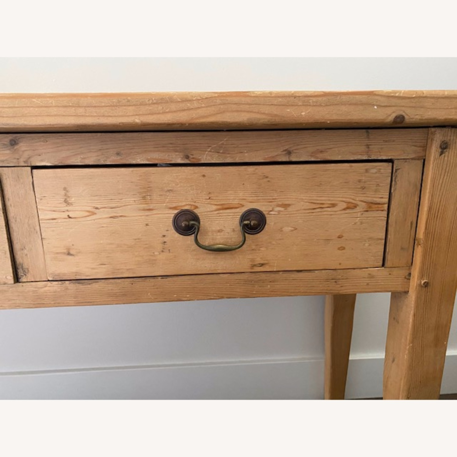 Vintage Pine Console Table with Drawers - image-4
