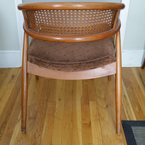 Used James Mont Attrib Cane Upholstered Barrel Armchair for sale on AptDeco