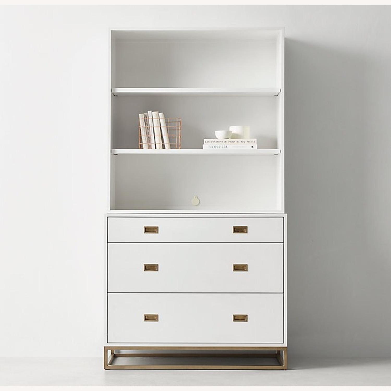 Restoration Hardware White Avalon Dresser and Hutch - image-1