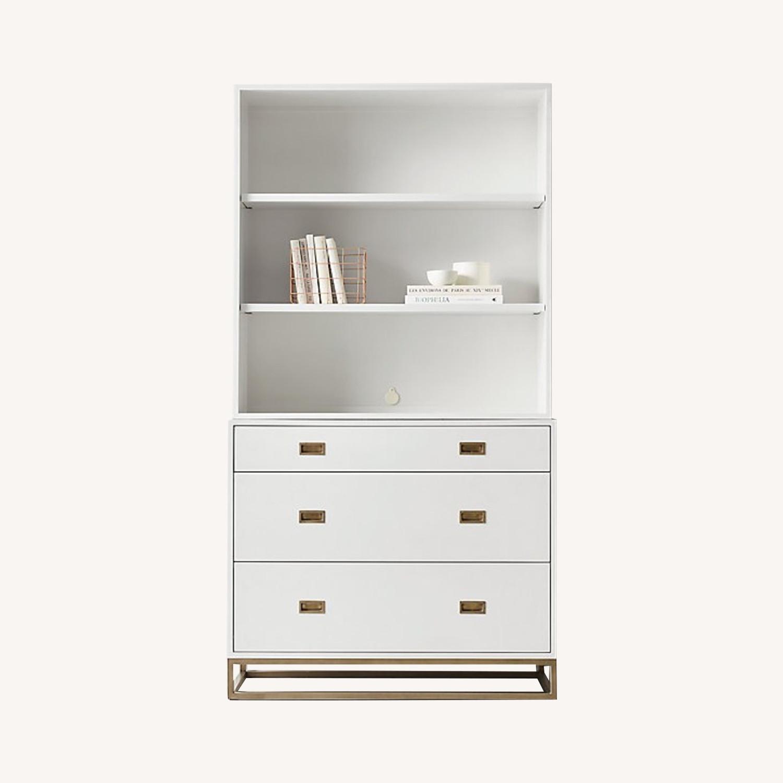Restoration Hardware White Avalon Dresser and Hutch - image-0