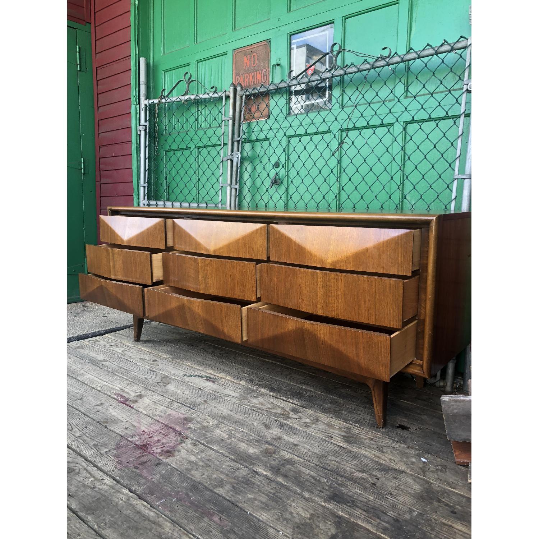Mid Century Diamond Front Lowboy Dresser - image-9