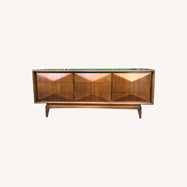 Mid Century Diamond Front Lowboy Dresser - image-0