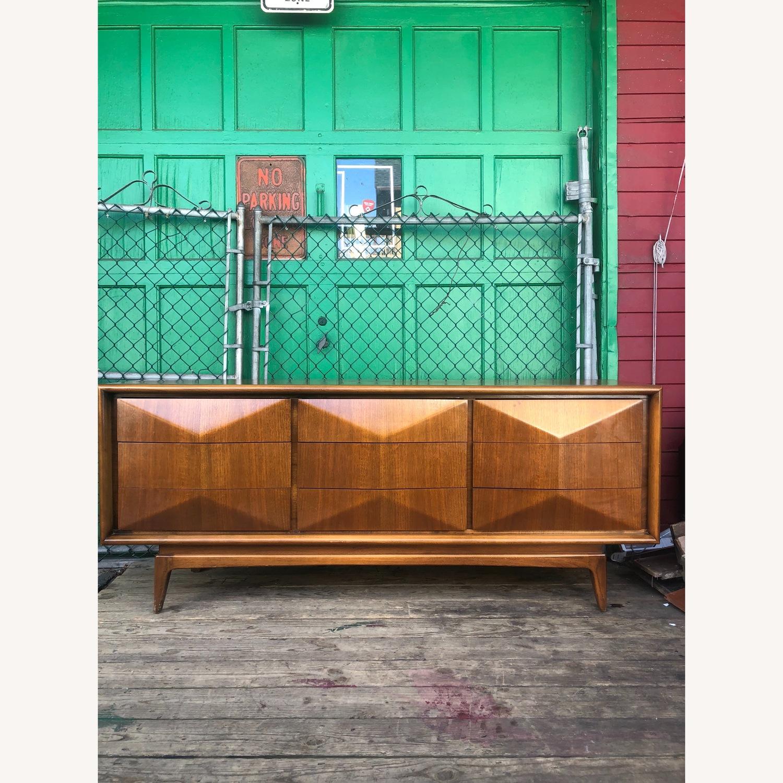 Mid Century Diamond Front Lowboy Dresser - image-6