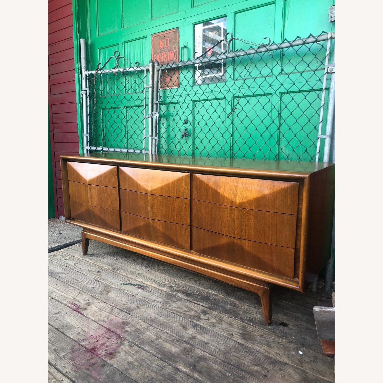 Mid Century Diamond Front Lowboy Dresser - image-5