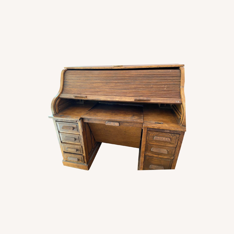 Antique Roll Top Desk - image-0