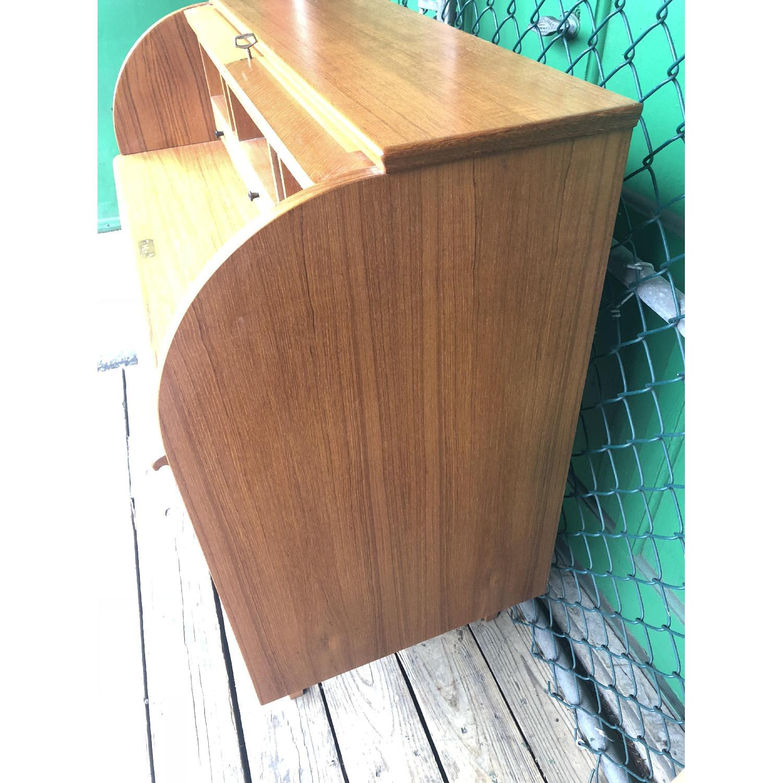 Danish Modern Teak Rolltop Locking Desk with Key - image-7