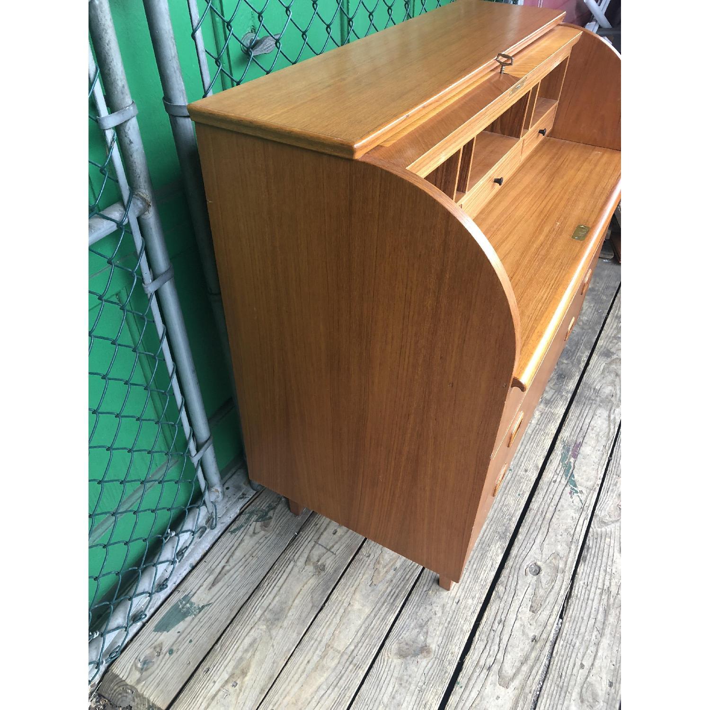 Danish Modern Teak Rolltop Locking Desk with Key - image-8