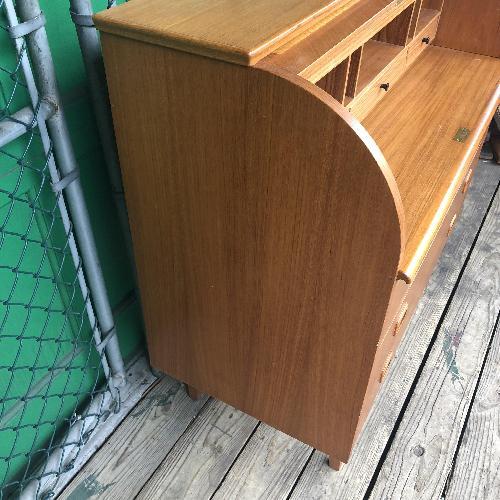 Used Danish Modern Teak Rolltop Locking Desk with Key for sale on AptDeco