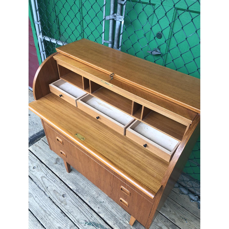 Danish Modern Teak Rolltop Locking Desk with Key - image-9