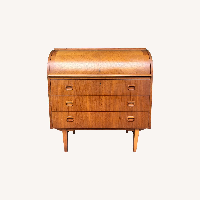 Danish Modern Teak Rolltop Locking Desk with Key - image-0