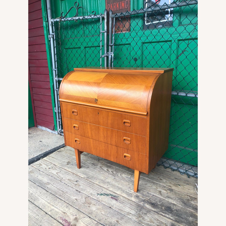 Danish Modern Teak Rolltop Locking Desk with Key - image-3