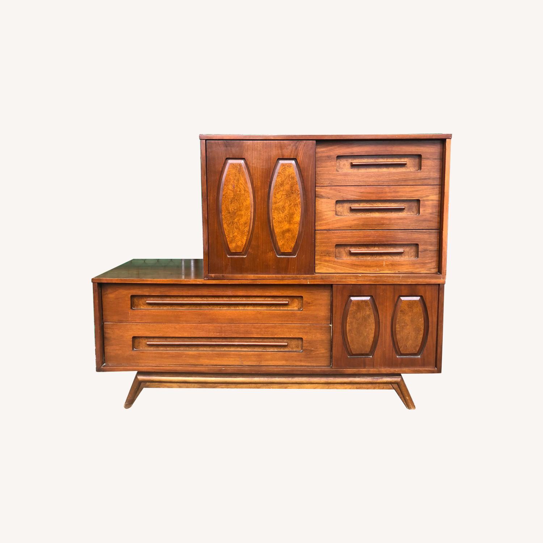 Mid Century Dresser with Burlwood & Glass - image-0